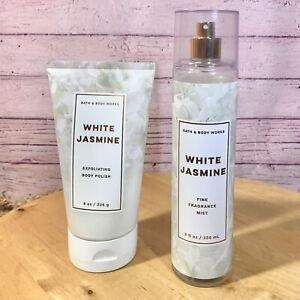 Bath & Body Works WHITE JASMINE Body Polish Exfoliating Scrub & Body Mist