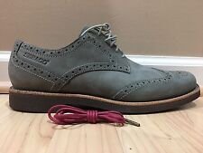 NEW MENS SEBAGO GREY SUEDE WINGTIP LACE UP SHOES 8.5 M WITH 1 EXTRA PAIR OF LACE