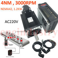 4NM 3000RPM AC220V Servo Motor Driver Kit Nema42 1.2KW for CNC Milling Drilling