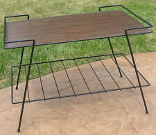 Vtg Metal Iron Mid Century Table TV Television Stand Shelf Wood Grain Top Deco