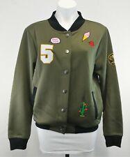 Derek Heart Women Patched Bomber Jacket, Size Large, green, black, polyester