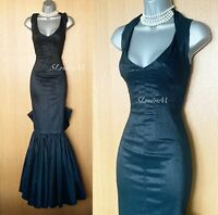 Karen Millen UK 10 Metallic Black Bias Cut Prom Wedding Ball Maxi Long Dress 38