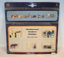 VEB Plasticart DDR H0 Bausatz Pferdefuhrwerk / Handkarre / Beladegut OVP #2772