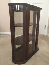 Bombay Company Curved Glass Curio Cabinet Vintage 2 Wooden Shelf Display Hanging