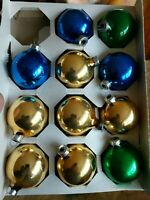 Vtg Christmas Ornaments  Multi Color Glass Ornaments Rauch Set of 11 in Box