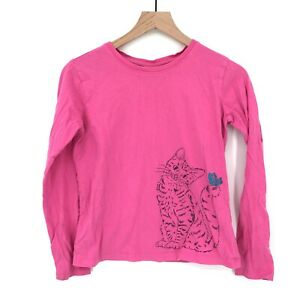 Hanna Andersson Girl's Long-Sleeved Top Pink Cat  Sparkle Butterfly 160cm 14 16