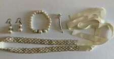 4 Piece Faux Pearl Jewelry Set Wedding Bridesmaid Sash Bracelet Earrings Pin