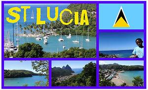 ST LUCIA -  SOUVENIR NOVELTY FRIDGE MAGNET - BRAND NEW / SIGHTS / FLAG / GIFTS