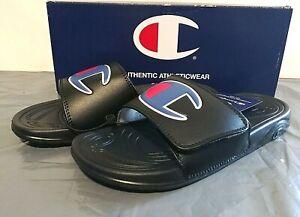 Champion Unisex Men and Women's Adjustable Slide Sandals PICK SIZE Black - 1G_01