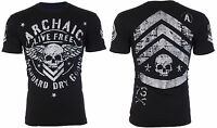 ARCHAIC by AFFLICTION Mens T-Shirt STRONG CREST Motorcycle BLACK Biker $40