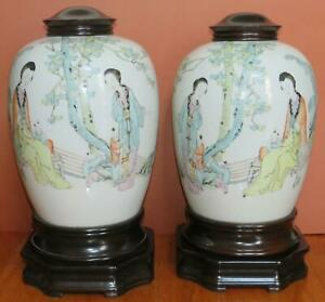 Antique Chinese Famille Rose Jars With Figures Mirror Images Pair