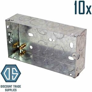10x 2 Gang 47mm Double Metal Back Box Galvanised Switch Socket Twin Back Boxes