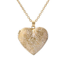 Retro Heart Craved Flower Locket Photo Frame Pendant Long Chain Necklace Jewelry