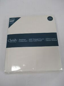 Christy Bedlinen Cream XDeep Double Fitted 100% Cotton Fitted Sheet BNIB C652