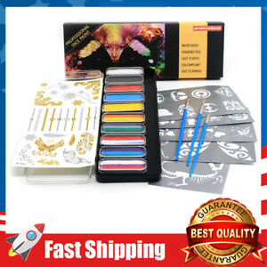 Face Paint Kit for kids,Safe and None Toxic Rainbow 10 set w/ Brushes Stickers