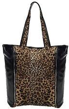 Womens Animal Leopard Print Faux Leather Tote Messenger Shoulder Handbag Bag