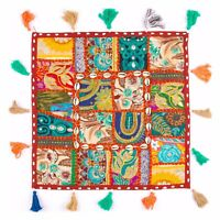 "⭐ Floor Patchwork Cushion Cover 16x16"" 24x24"" Embroidery Wall Hanging Fair Trade"