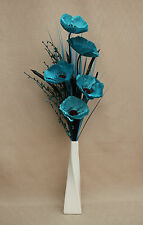Artificiales De Seda Verde Azulado Poppy, Flor Tallo Y Hierbas En Crema Twist Jarrón De Cerámica
