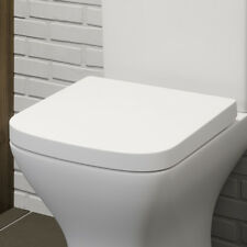 Bathroom Soft Close Toilet Seat White Square Chrome Top Fitting Hinges Ergonomic