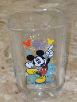 Mickey Mouse Disney WDW Square Glass Tumbler  Magic Kingdom McDonalds Embossed