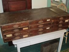 12 Drawer Antique Jeweler's Cabinet w/ Leather Top - General Store Patina, Worn