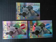 Ty Beanie Babies Bboc Series I S1 ~ Red Blue Silver ~ Retired Card 15 Lefty