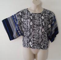 Unique Spectrum Black White Blue Animal Print Kimono Sleeve Top Plus Size 1X