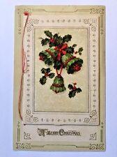 Antique Postcard Winsch A Merry Christmas Holly Mistletoe Bells Booklet Opens