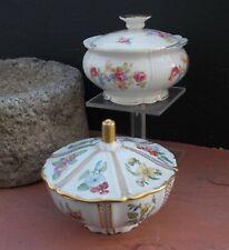Porcelain Bavaria Edelstein and Jacgerilo Boxes or Sugar Bowls