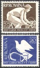 Romania 1957 Sports/Bikes/Cycling/Racing/Doves/Birds/Animation 2v set (n32527)