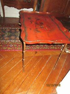 Antique Little Low Table Feet Bronze Bamboo, Tray Painted Lacquer