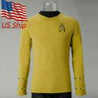 ST The Original Series Captain Kirk Shirt Cosplay TOS Uniform Men Yellow Costume