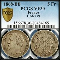 1868-BB Silver 5F France Napoleon 5 Francs PCGS VF30 Vintage French Classic Coin
