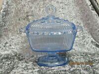 Vintage Indiana Glass Light Blue Oblong Lace Edge Pedestal Candy Dish w/Lid