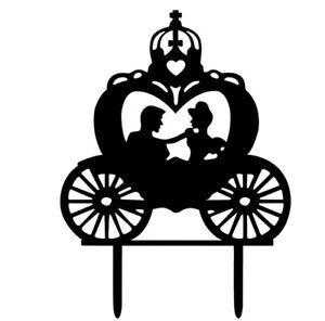 PRINCESS CARRIAGE WEDDING CAKE TOPPER-SILHOUETTE -BLACK ACRYLIC-CINDERELLA BRIDE