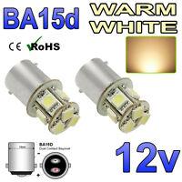 2 x 12v Warm White BA15D 8 SMD LED Interior Light Bulbs 209 Motorhome Boat Yacht