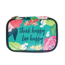 Mary Square Floral Think Happy Vegan Leather Mini Zip Around Pill Case