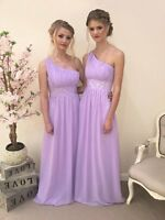 1 Shoulder Chiffon Bridesmaid Sequin Dress Wedding Prom Evening Party Ballgown