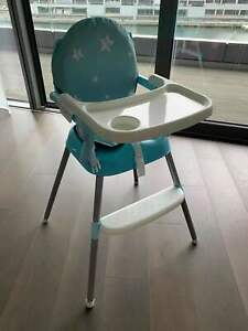 Blue Baby Highchair Infant High Feeding Foldable Table Toddler Chair Ajustable