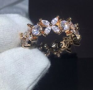 18k Rose Gold Eternity Ring made w Swarovski Crystal Marquise Anniversary Band
