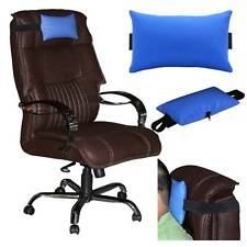 ACM-LEATHER CUSHION PILLOW HEAD & NECK REST for COMPUTER CHAIR BLUE