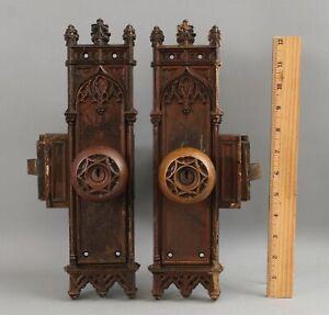 Pair Antique Gothic Bronze Hotel Doorknobs Door Plate Lockset & Key Hardware