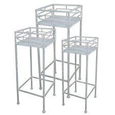 Blumenhocker / Beistelltisch Tisch Pflänzenständer aus Metall antik grau eckig