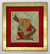 Finished Framed Embroidery Asian Mandarin Tunic Vest Red Mat Gold Frame 16 X 17