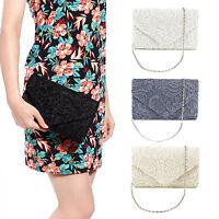 Women Bag Floral Lace Handbag Evening Party Clutch Bag Purse Bridal Shoulder Bag