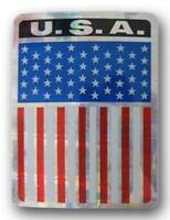 """U.S.A. America Vertical Flag Reflective Decal Bumper Sticker 3.875"""" x 3"""""""