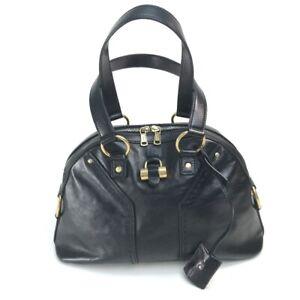 YVES SAINT LAURENT 156465 Muse  Hand Bag Leather Black