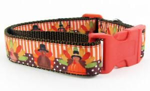 "Thanksgiving dog collar handmade adjustable buckle 1"" wide or leash holiday"