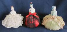 3 Vintage PORCELAIN Half DOLL Pin CUSHIONS Flapper Victorian LADIES