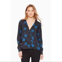 Parker Black & Blue Silky Floral Long Sleeve Drape Front Lola Top SZ S